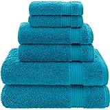 特大尺寸,厚实大号 * 纯棉,奢华酒店和水疗品质,吸水柔软装饰厨房和浴室土耳其毛巾 Ocean Aqua 6-Piece…