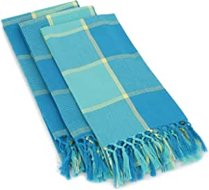 """Mahogany T415KTDN""""Cristo"""" Plaid Kitchen Towel with Waffle, 18 by 28-Inch, Denim, Set of 3"""