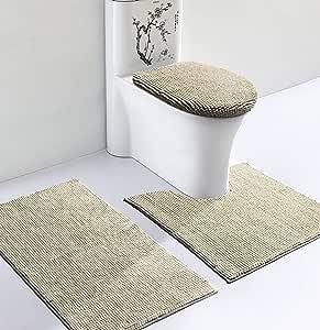 vdomus 软厕所地毯3件套,防滑浴室地毯, U 马桶垫子,马桶盖子覆盖