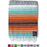 墨西哥毛毯正品 Falsa 厚软:编织腈纶瑜伽蛇或作为海滩抛物、野餐、露营、旅行、远足、冒险、枕头、毛毯,粉色,薄荷,深…