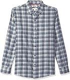 Goodthreads Men's Slim-Fit Long-Sleeve Plaid Brushed Heather Shirt, Grey Navy, X-Large