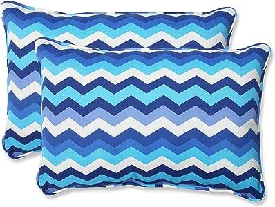 Pillow Perfect Outdoor Panama Wave Rectangular Throw Pillow, Over-Sized, Azure, Set of 2