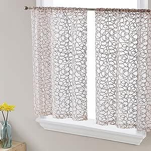 HLC.ME Audrey 薄纱窗帘短杆口袋层适用于厨房、卧室、小型窗户和浴室(76.2 x 60.96 厘米长,白色) 灰褐色 30 W x 24 L ADRY-24-TAUP