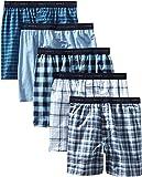 Hanes 男式 freshiq 无标签格子平角内裤带 exposed 腰带5个装和10个装
