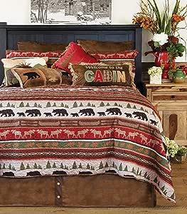 Carstens, Inc. Cabin & Lodge 条纹被子套装,红色