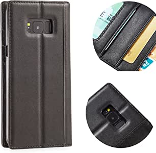 Samsung Galaxy S8 Leahter 手机壳Purfit 设计,真皮全抓皮革翻盖开式保护套钱包手机套 [手工制作] [复古风格] [内置支架]4326885517 黑色带肩带
