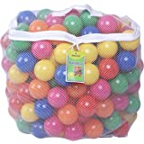 Click N' Play Pack of 200 Phthalate Free PBA Free Crush Proof Plastic Ball, Pit Balls - 6 Bright Colors in Reusable and Durable Storage Mesh Bag with Zipper