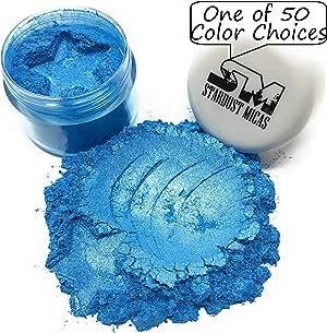 颜料粉 Mica Powder 化妆品级珍珠颜料,纤细彩,环氧树脂,肥皂制作,金属环氧彩色 Stardust Micas 化妆品米娜粉 Ariel 蓝色 10 Gram Jar SDM-B1836