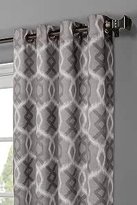 Window Elements Avila 印花 * 纯棉超宽索环窗帘片对,264.16 x 243.84cm,炭黑色 炭黑色 104x96 YMC002726