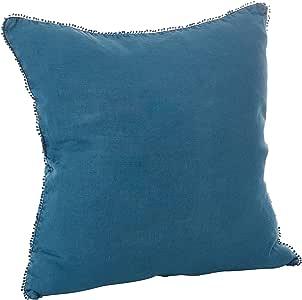 "SARO LIFESTYLE Pompom 流苏羽绒填充绒毛亚麻抱枕,50.8cm,蓝色-灰色 海洋蓝 20 ""英寸 15063.OB20S"