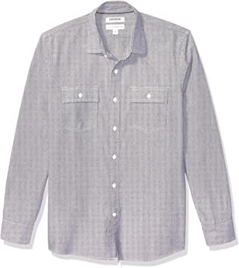 Amazon Brand - Goodthreads 男式标准修身长袖格子人字呢衬衫